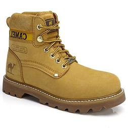 Camel Men's Leather Insulated Work Boots Water Resistant Non