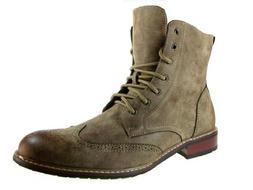 Delli Aldo Men's 828A Wing Tip Ankle High Boots, Brown, 10