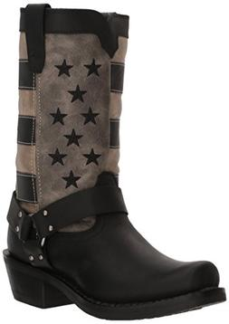 Durango Women's Flag Harness Motorcycle Boot, Black Charcoal