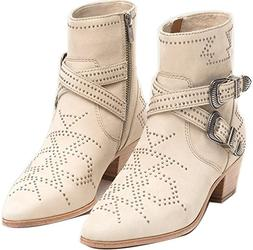 FRYE Womens Ellen Deco Buckle Short Ankle Boot, Ivory, Size