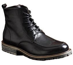 Happyshop Leather Men's Fashion Martin Boots Lace-up Motorcy