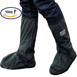 Holyami Waterproof Rain Boots Shoes Covers for Women Men-Bla