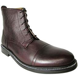 J.D. Fisk Mens Cobra Leather Combat Boot Shoe, Wine, US 7.5