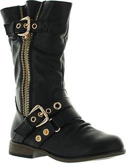 JJF Shoes Chapter16 Kids Black Metal Zipper Dual Buckle Mid