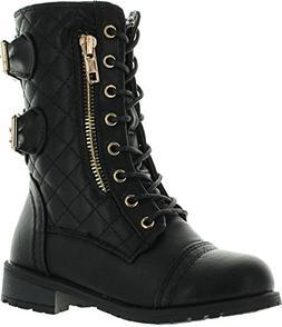 JJF Shoes Mango-79 Kids Black Combat Lace Up Quilted Dual Bu
