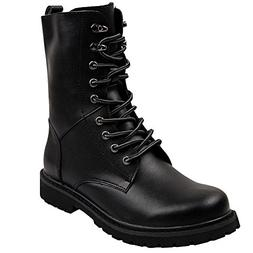 Jamron Men Mid-Calf Split Leather Boots Flat Non-Slip Combat