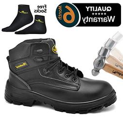 SAFETOE Men's Steel Toe Work Boots Water-Resistant Leather L