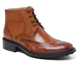 Santimon Men's Heritage Wingtip Boots Leather Lace up Brogue