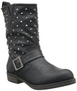 Skechers Women's Accented-Stud Factor Boot,Black,8 M US