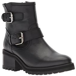 Steve Madden Women's GAIN Motorcycle Boot, Black Leather, 6.