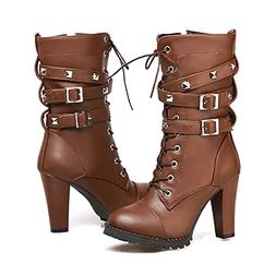 Susanny Women's Mid Calf Leather Boots Chic High Heel Lace u