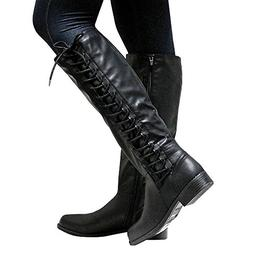 Syktkmx Womens Lace Up Knee High Motorcycle Riding Military