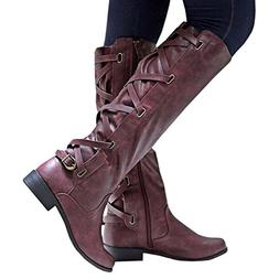 Syktkmx Womens Lace Up Strappy Knee High Motorcycle Riding L