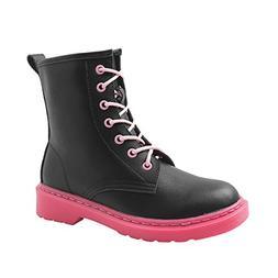 VFDB Womens Heel Motorcycle Boots Platform Waterproof Lace-u