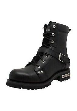 """AdTec Mens 8"""" Zipper Lace Biker Motorcycle Cycle Riding Boot"""