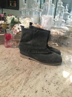 alida gray fringe boho leather motorcycle boot