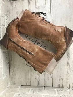 BED STU 7.5M EMPRESS Caramel Lux Leather Lace Up Distressed