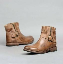 BED STU Becca Leather Ankle Boots Tan Rustic Size 11 M Moto