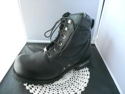 Milwaukee Black Leather Motorcycle Boots Side Zip Size  8  o