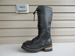 Skechers Black Leather Motorcycle Engineer Boots Womens size