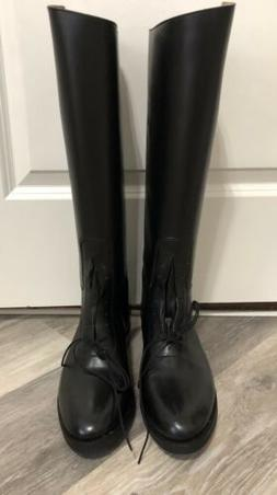 Effingham Black Leather Tall Field/Motorcycle Boots Mens Sz.