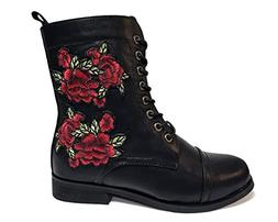 T.U.K. Rewind Womens Black Rose Embroidered Combat Boot, Siz