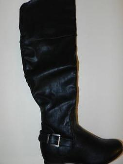 ELLE Black Women's Motorcycle Riding Knee High Boots Sz 5.5