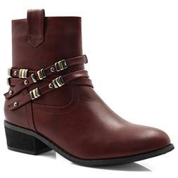 Allegra K Women's Block Heel Studded Straps Ankle Boots  Bur