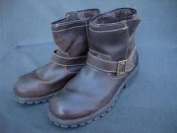 Skechers Brown Leather Ankle Boots Shoes Memory Foam Ayalo M