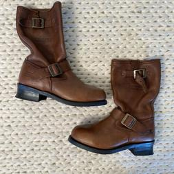 Xelement Brown Leather Motorcycle Biker Boots Womens Size 7.
