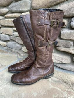 REIKER Brown Leather Tall Moto Style  Boots Sz 7.5/38 Side B