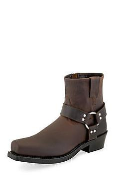 Old West Brown Mens Leather Harness Motorcycle Boots
