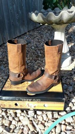 Old West Brown Mens Leather Harness Tall Motorcycle Boots 8.