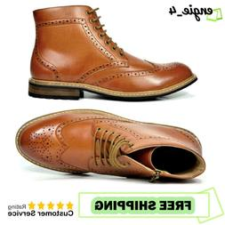 Bruno Marc Mens Dress Ankle Motorcycle Boots Leather Lined D