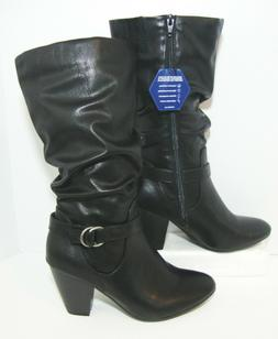 Calf High Black Motorcycle Boots Comfort Soles Womens 9