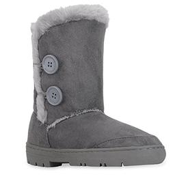 CLPP'LI women snow boots Button Fully Fur Lined Waterproof W
