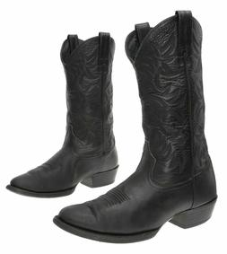ARIAT Cowboy Boots 9.5 D Mens Black Deer Tanned Leather WEST