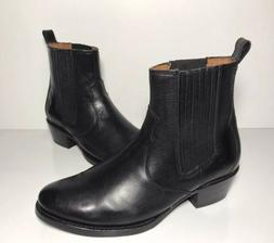 FRYE Diana Chelsea Black Leather Short Motorcycle Boots Wome