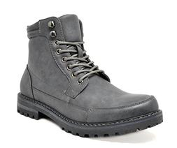 Bruno Marc Men's Engle-01 Grey Motorcycle Combat Oxford Boot