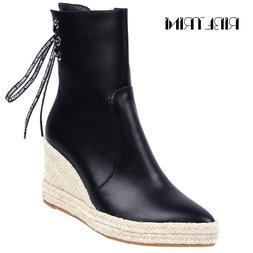 RIBETRINI Fashion Women Espadrille Wedge Heeled Shoes Woman