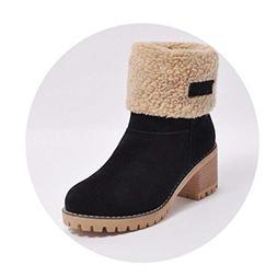 W6LDiJLddl Woman Fur Warm Snow Boots Fashion Square High Hee