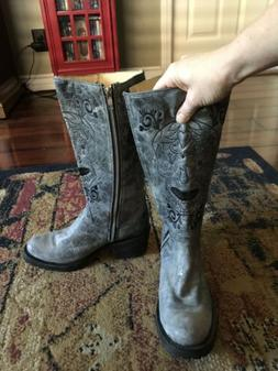 Genuine Leather Grey Womens Motorcycle Boots Sugar Sull Size