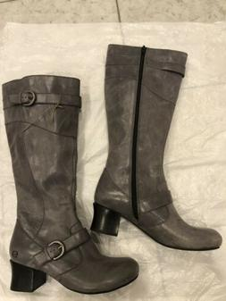 Born Gray Leather Side Zipper Knee High Comfort Motorcycle B