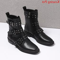 handmade cow leather zip rivet med heels ankle <font><b>boot