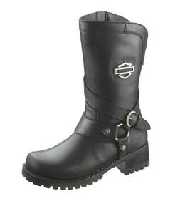 HARLEY-DAVIDSON FOOTWEAR Women's Amber Black Leather Motorcy