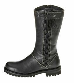 HARLEY-DAVIDSON FOOTWEAR Women's MELIA Black Leather Motorcy