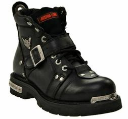 HARLEY-DAVIDSON FOOTWEAR Mens Brake Buckle Black Leather Mot