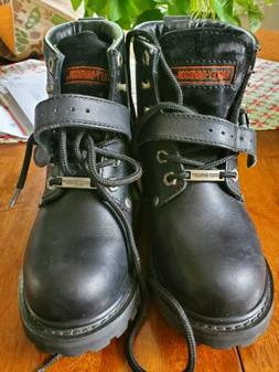 HARLEY Davidson Motorcycle Womens Riding Boots Black 6' Leat