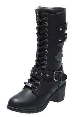 """Harley-Davidson Womens Aldale Waterproof 9.75"""" Black Leather"""
