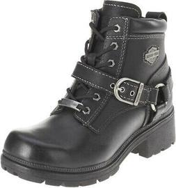 Harley-Davidson Womens Tegan Low Cut Lace-up Black Leather B
